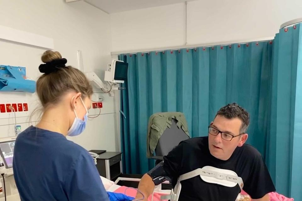 Victorian Premier Daniel Andrews was hospitalised after a fall earlier this year. Source: AAP Image/Twitter, @DanielAndrewsMP