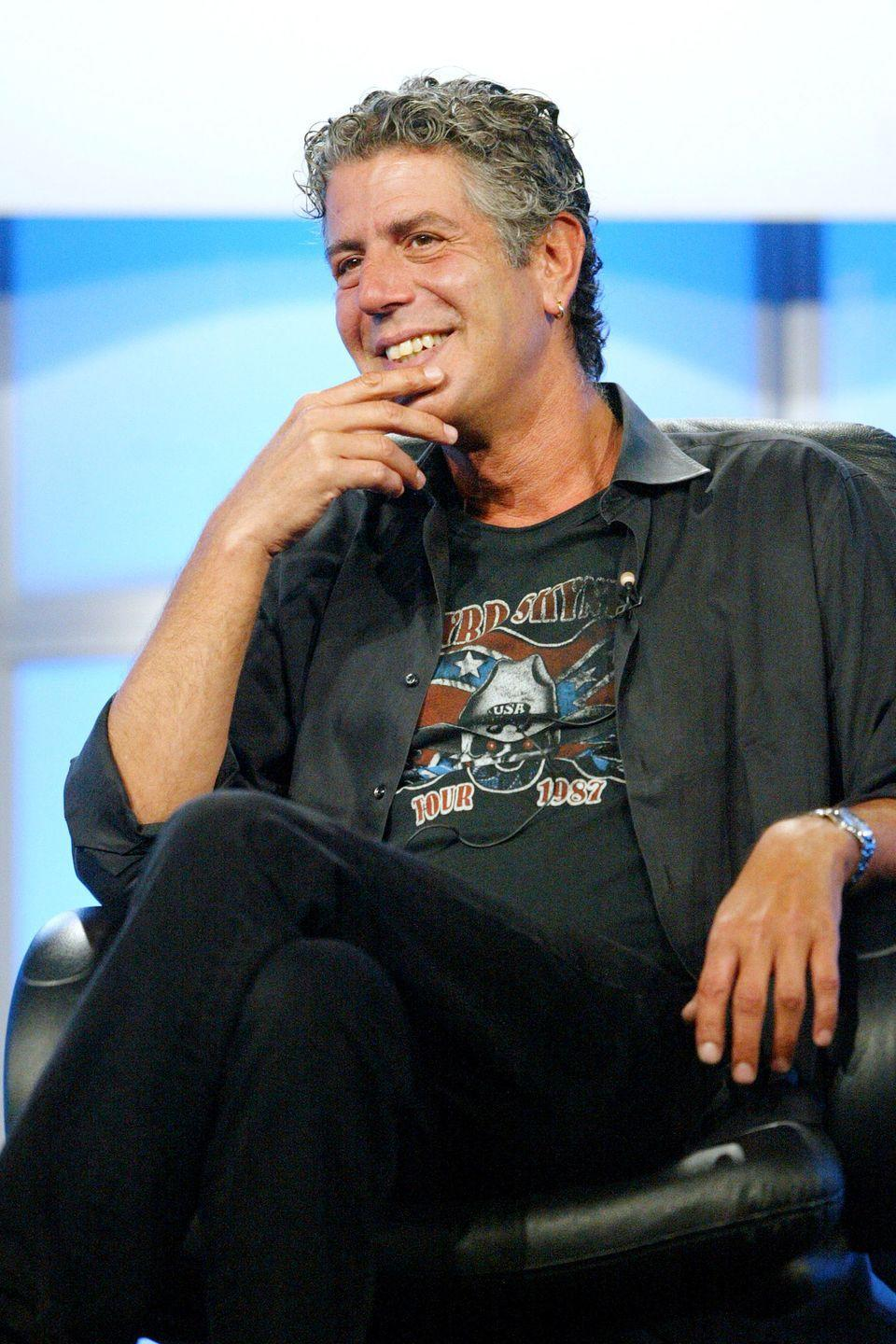 <p>Also in 2005, <em>No Reservations</em> featuring Bourdain as globetrotting host debuted on the Travel Channel. Here, Bourdain attends a panel discussion on July 16, 2005 in Beverly Hills.</p>