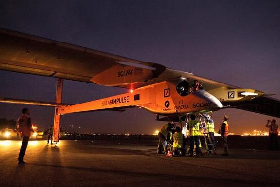 The pilots and crew of Solar Impulse before a flight.