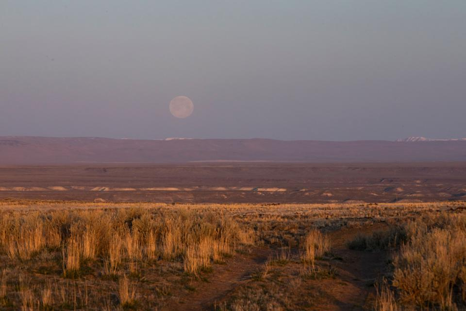 Sunrise over the sagebrush as the moon sets outside Rome, Oregon, on Sunday, March 28. (Photo: Kristina Barker for HuffPost)