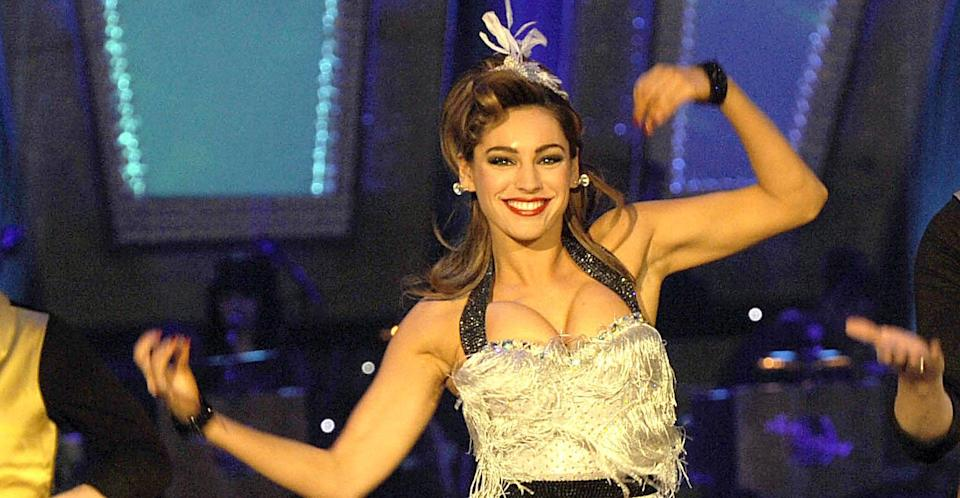 Kelly Brook during a Strictly Come Dancing Live performance in 2010. (REX)
