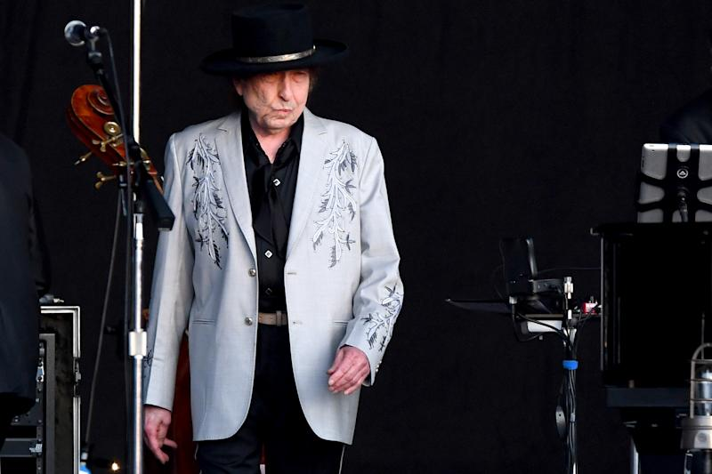 LONDON, ENGLAND - JULY 12: Bob Dylan performs as part of a historic double bill with Neil Young at Hyde Park on July 12, 2019 in London, England. (Photo by Dave J Hogan/Getty Images)