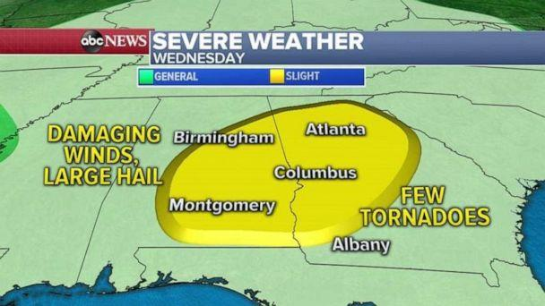 PHOTO: The biggest threat with these storms on Wednesday will be damaging winds, large hail and an isolated tornado cannot be ruled out. (ABC News)