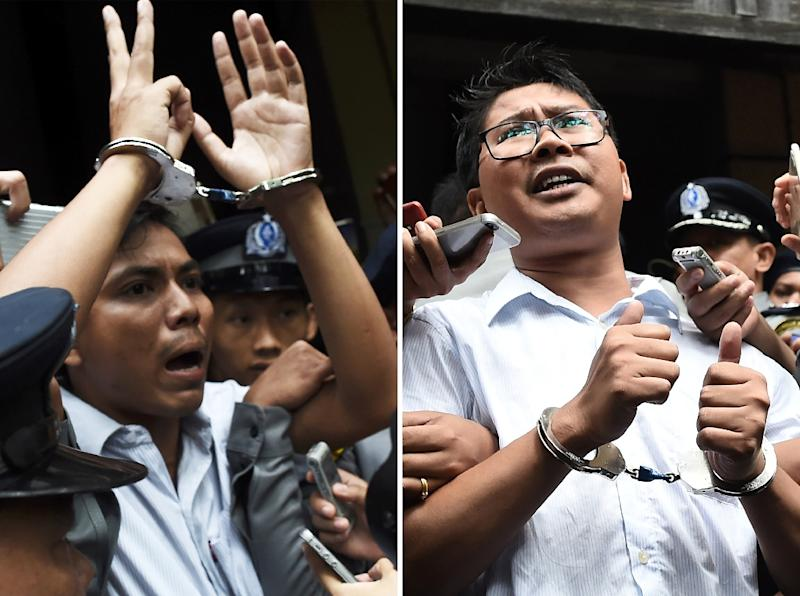 Wa Lone and Kyaw Soe Oo were sentenced to seven years in prison under the draconian Official Secrets Act last year after probing a massacre of 10 Rohingya Muslims in Rakhine state