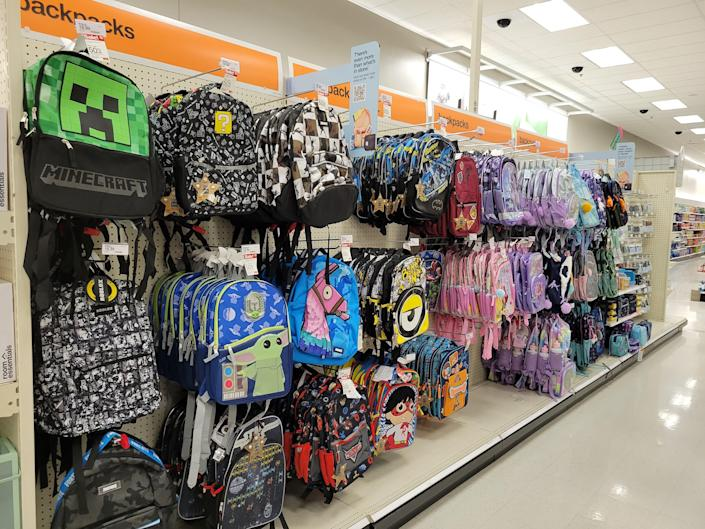 Character backpacks could be among the items that sell out before the school year.