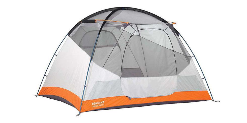 "<p><strong><i>$449, <a rel=""nofollow"" href=""http://www.moosejaw.com/moosejaw/shop/product_Marmot-Limestone-6-Person-Tent_10237166_10208_10000001_-1_"">moosejaw.com</a></i></strong></p><p>        Perfectly sized to house a few adults and some kids or puppies, this six-person tent is referred to by Marmot as ""bombproof"" due to its ability to stand up to the strongest of storms. It's also easy for one person to set up, freeing up the rest of the crew to scour the surroundings for firewood.   Additional features include gear lofts to store small goods inside, a doormat to keep dirt outside, and a large vestibule to keep everything dry, even if things go awry.<br></p>"