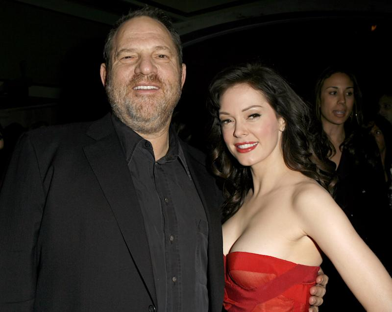 Harvey Weinstein and Rose McGowan in Los Angeles, California (Photo by Jeff Vespa/WireImage)