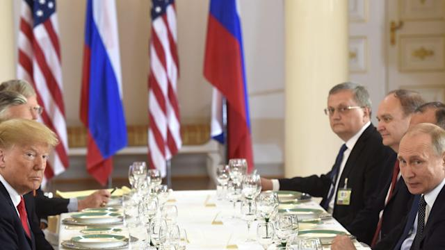 <p>U.S. President Donald Trump participates in an expanded bilateral meeting with Russia's President Vladimir Putin in Helsinki, Finland July 16, 2018. (Photo: Lehtikuva/Heikki Saukkomaa/Reuters) </p>