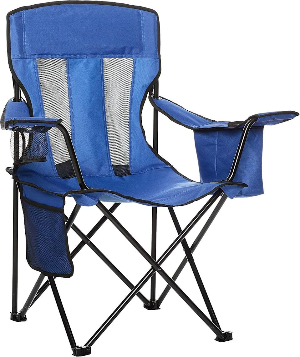 """<p>Whether you're eating s'mores or telling ghost stories, no backyard campout is complete without portable chairs. This budget-friendly <a href=""""https://www.popsugar.com/buy/Amazon-Basics-Camping-Chair-574565?p_name=Amazon%20Basics%20Camping%20Chair&retailer=amazon.com&pid=574565&price=30&evar1=moms%3Aus&evar9=47479532&evar98=https%3A%2F%2Fwww.popsugar.com%2Fphoto-gallery%2F47479532%2Fimage%2F47479545%2FAmazon-Basics-Camping-Chair&list1=camping%2Ckid%20activities%2Ckid%20shopping%2Cparent%20shopping%2Cstaying%20home&prop13=api&pdata=1"""" class=""""link rapid-noclick-resp"""" rel=""""nofollow noopener"""" target=""""_blank"""" data-ylk=""""slk:Amazon Basics Camping Chair"""">Amazon Basics Camping Chair</a> ($30) comes with a cupholder, storage pocket, and carry bag.</p>"""