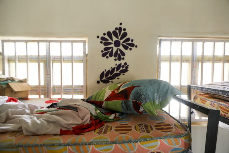 Personal items of one of the students from JSS Jangebe school are seen on the bed, in Zamfara