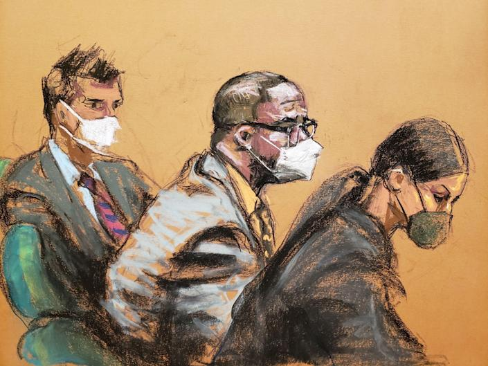 A courtroom sketch of r kelly next to lawyers Thomas Farinella and Nicole Blank Becker