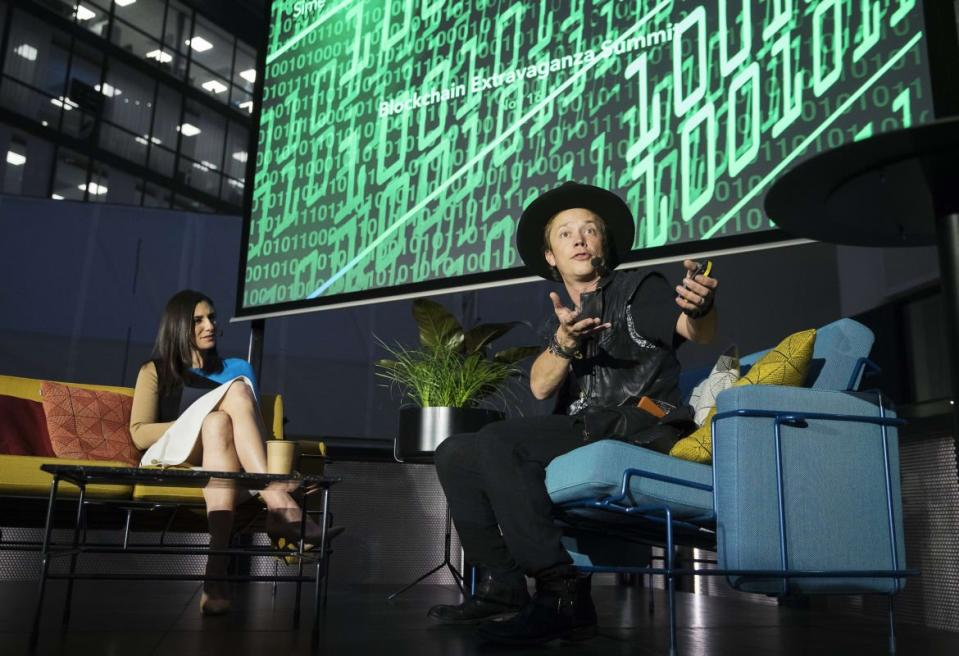 """<div class=""""inline-image__caption""""><p>Laurie Segall of CNN and Brock Pierce during the Sime Awards at Epicenter on November 16, 2017, in Stockholm, Sweden.</p></div> <div class=""""inline-image__credit"""">Nils Petter Nilsson/Getty</div>"""