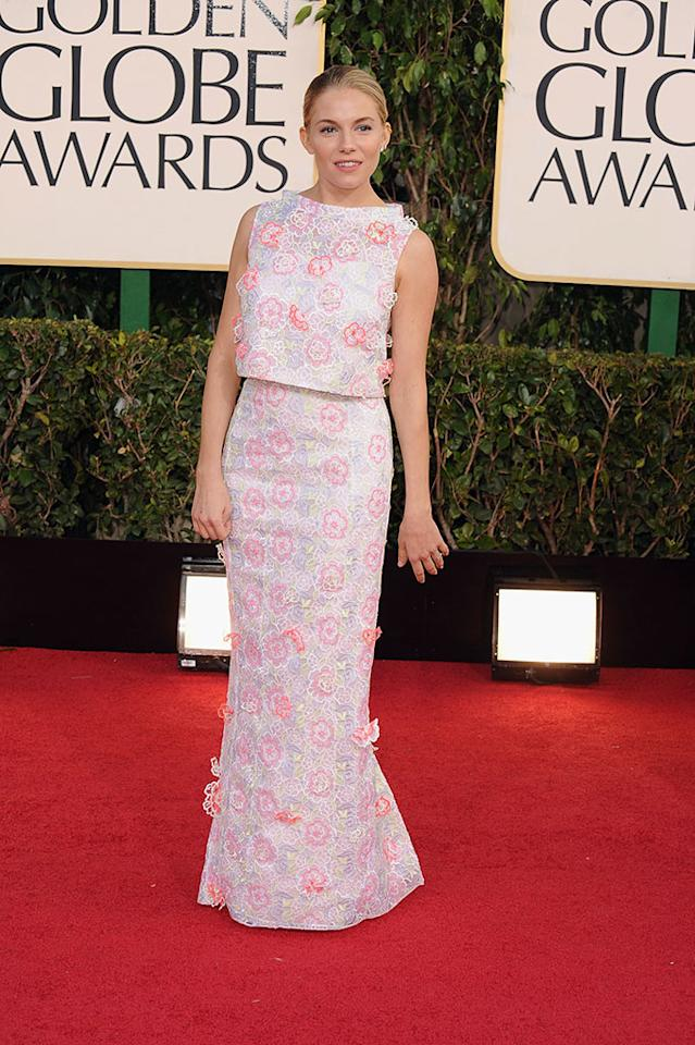 Sienna Miller arrives at the 70th Annual Golden Globe Awards at the Beverly Hilton in Beverly Hills, CA on January 13, 2013.
