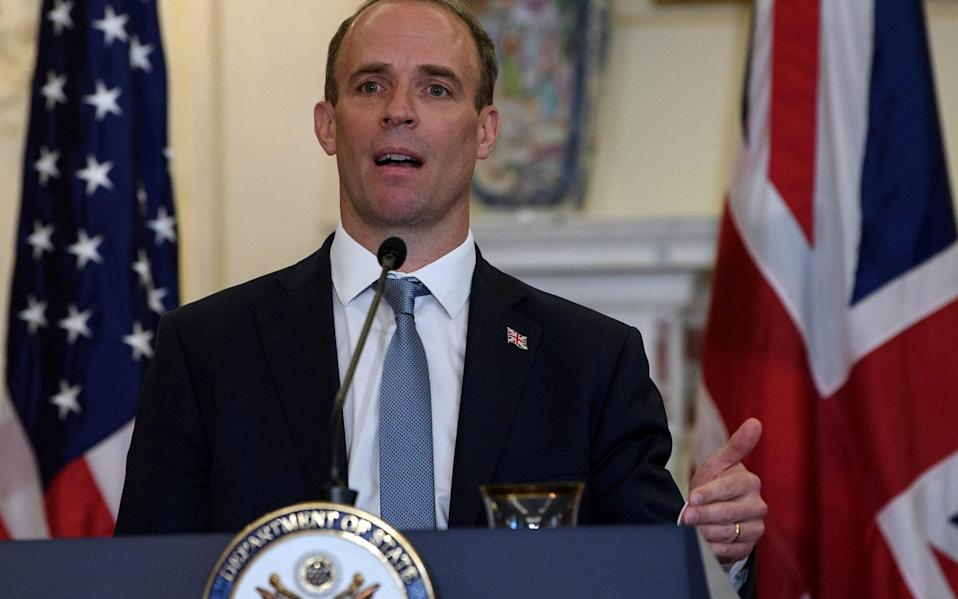 Raab at a joint press conference with US Secretary Mike Pompeo on September 16 - Reuters