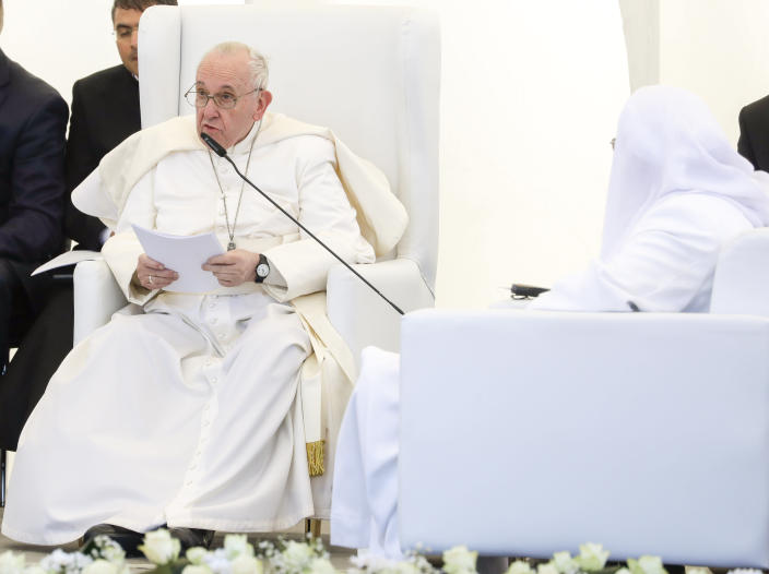 Pope Francis delivers his speech during an interreligious meeting near the archaeological area of the Sumerian city-state of Ur, 20 kilometers south-west of Nasiriyah, Iraq, Saturday, March 6, 2021. Ur is considered the traditional birthplace of Abraham, the prophet common to Muslims, Christians and Jews. Earlier today Francis met privately with the country's revered Shiite leader, Grand Ayatollah Ali al-Sistani. (AP Photo/Andrew Medichini)