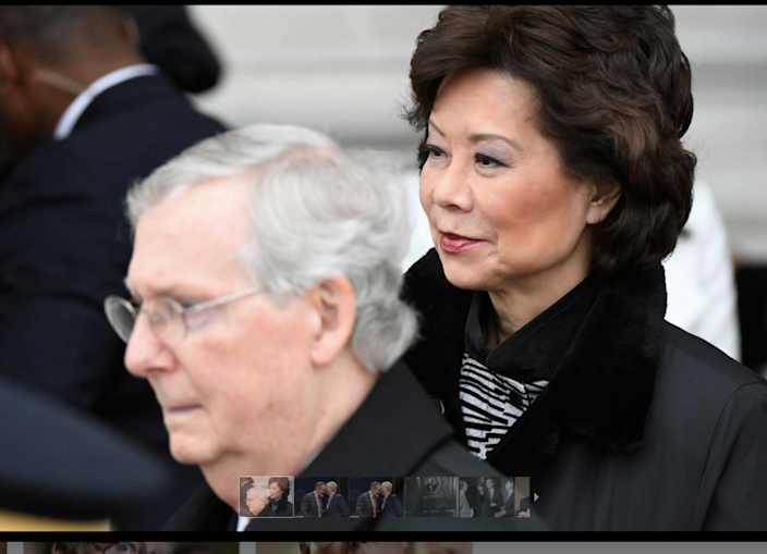 Sen. Mitch McConnell with his wife, Transportation Secretary Elaine Chao, Nov. 4, 2020