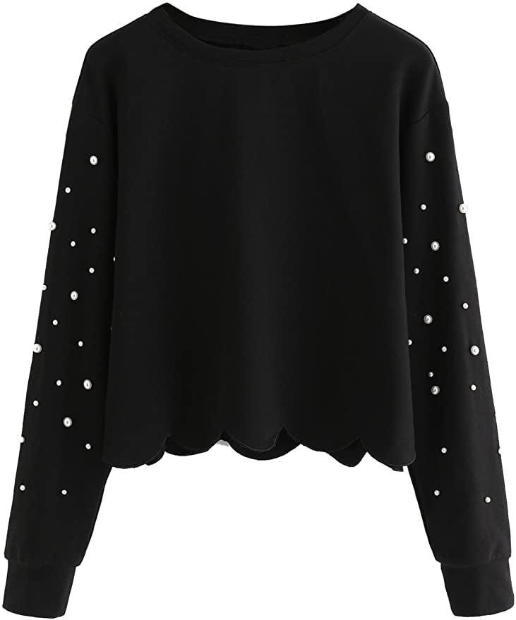 <p>How cute is this <span>Romwe Women's Casual Long Sleeve Scalloped Hem Sweatshirt</span> ($21)? It's embellished with pearls for that dainty look.</p>