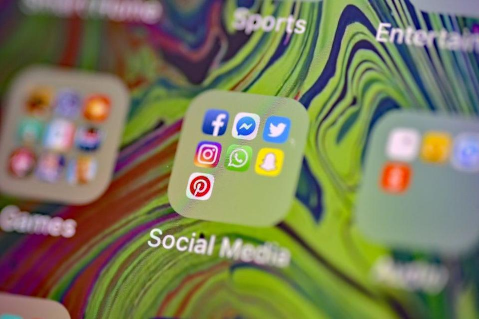 Stock photo of Facebook, Messenger, Twitter, Instagram, WhatsApp, Snapchat and Pinterest, social media app icons on a smart phone. (PA Archive)