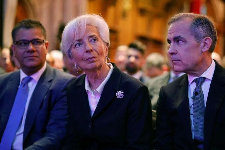 European Central Bank President Christine Lagarde (left) and former Bank of England Governor Mark Carney (right) believe central banks have a role to play in addressing climate change (AFP/Tolga Akmen)