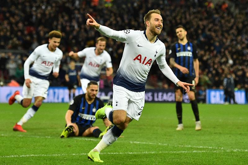 Christian Eriksen celebrates Tottenham's vital winner against Inter Milan