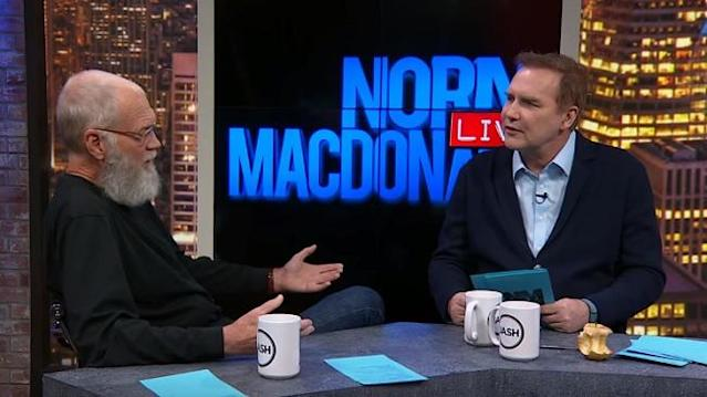 Norm Macdonald interviews David Letterman for a full hour on his online talk show. (Photo: Norm Macdonald Live/YouTube)