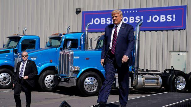 PHOTO: President Donald Trump arrives to speak to a crowd of supporters during a campaign stop at Mariotti Building Product, Aug. 20, 2020, in Old Forge, Pa. (Evan Vucci/AP)