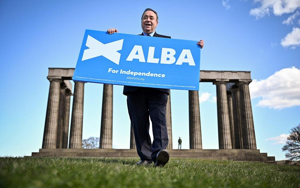 Former First Minister and leader of the Alba Party Alex Salmond campaigns on Calton Hill, Edinburgh - Getty Images Europe