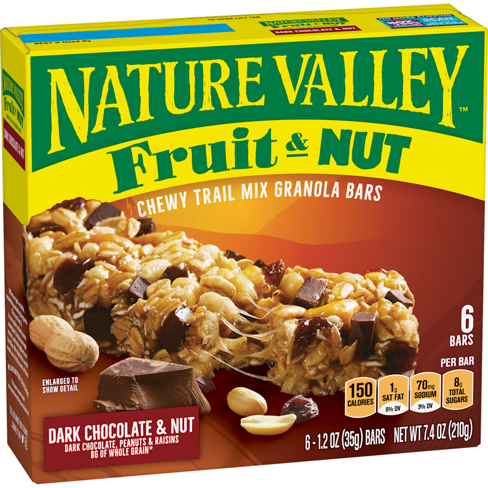 "<p><strong>Nature Valley</strong></p><p>naturevalley.com</p><p><strong>$150.00</strong></p><p><a href=""https://www.naturevalley.com/product/fruit-and-nut-bars-dark-chocolate-nut/"" rel=""nofollow noopener"" target=""_blank"" data-ylk=""slk:Shop Now"" class=""link rapid-noclick-resp"">Shop Now</a></p><p>These bars are held together with corn syrup instead of honey, and the chocolate is totally dairy-free. All flavors in this line—cranberry and pomegranate, dark chocolate cherry, and fruit & nut—are vegan.</p><p><em>Per 1 bar: 140 cals, 4 g fat (1 g sat), 65 mg sodium, 25 g carbs, 2 g fiber, 8 g sugar, protein 2 g. </em></p>"