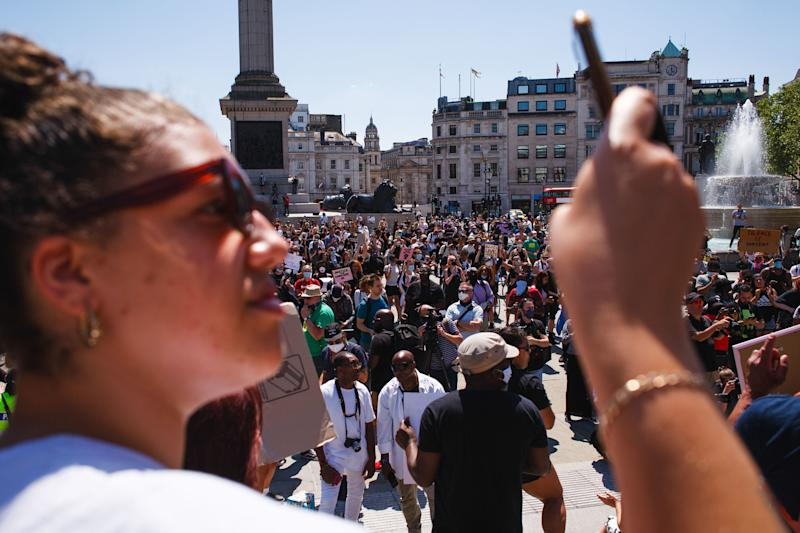 Activists gathered at Trafalgar Square during the George Floyd demonstration. Thousands came together for the protest, despite ongoing concerns over the possible spread of coronavirus and continuing calls by authorities for social distancing guidelines to be adhered to. Floyd, a black man, died as a white police officer, Derek Chauvin, knelt on his neck during an arrest in the US city of Minneapolis on May 25. Floyd's death, reminiscent of the chokehold death of Eric Garner at the hands of police officers in New York in 2014, has reignited the 'Black Lives Matter' movement against police brutality in the US, and left Minneapolis and major cities from coast to coast reeling from nights of rioting. (Photo by David Cliff / SOPA Images/Sipa USA)