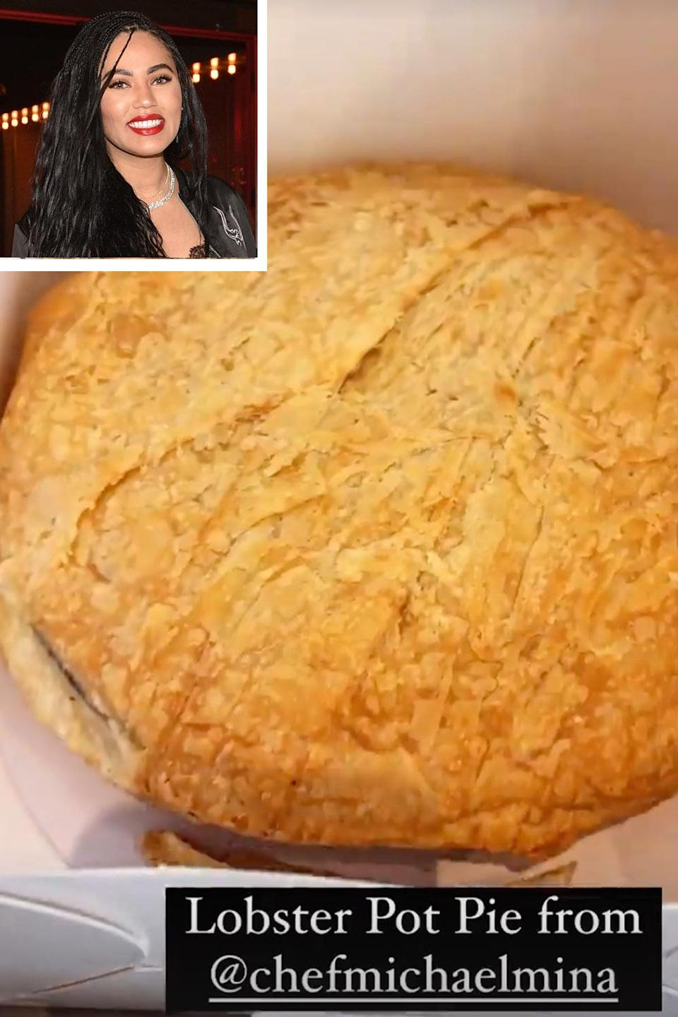<p>The cookbook author's Easter meal featured a lobster pot pie from chef Michael Mina, Curry's partner in their restaurant International Smoke.</p>