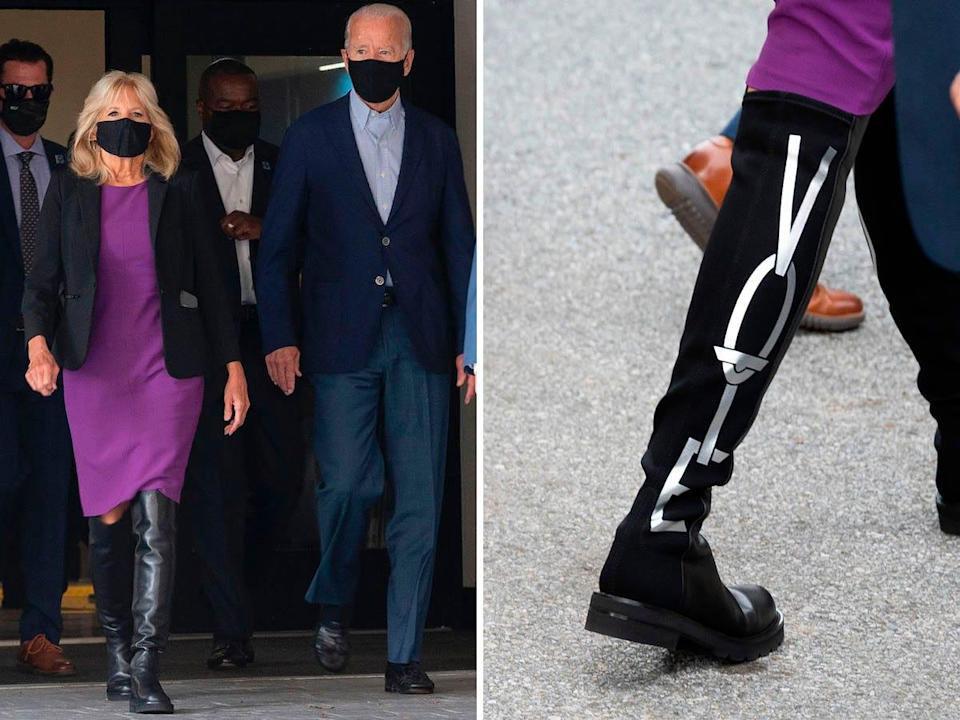Jill Biden wears boots that say Vote while voting in Delaware's 2020 state primary.