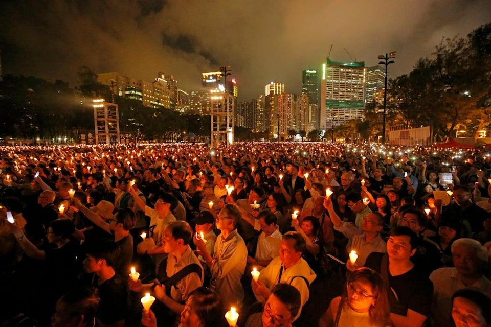 File Thousands of people attended a candlelight vigil for victims of the Chinese government's brutal military crackdown three decades ago on protesters in Beijing's Tiananmen Square at Victoria Park in Hong Kong in 2019  (AP)