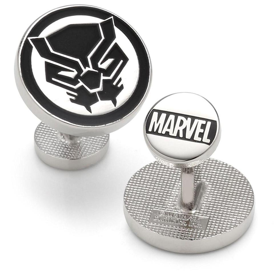 """<p><strong>Marvel</strong></p><p>macys.com</p><p><strong>$95.00</strong></p><p><a href=""""https://go.redirectingat.com?id=74968X1596630&url=https%3A%2F%2Fwww.macys.com%2Fshop%2Fproduct%2Fmarvel-black-panther-mask-cufflinks%3FID%3D10439380&sref=https%3A%2F%2Fwww.esquire.com%2Flifestyle%2Fg23497791%2Fbest-marvel-gifts-ideas%2F"""" rel=""""nofollow noopener"""" target=""""_blank"""" data-ylk=""""slk:Buy"""" class=""""link rapid-noclick-resp"""">Buy</a></p><p>You can suit up—actual suit, not superhero suit—in the utmost of style, while paying tribute to a real-life hero <a href=""""https://www.esquire.com/entertainment/a34224787/real-chadwick-boseman-life-story/"""" rel=""""nofollow noopener"""" target=""""_blank"""" data-ylk=""""slk:gone too soon"""" class=""""link rapid-noclick-resp"""">gone too soon</a>.</p>"""