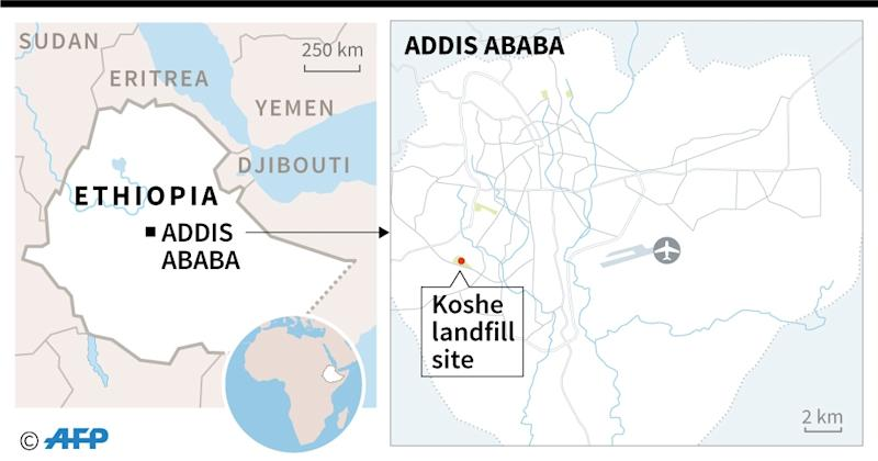 Map of the Ethiopian capital Addis Ababa, locating the Koshe landfill (AFP Photo/AFP )