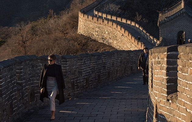 Many praised the First Lady's Great Wall look. Source: Getty