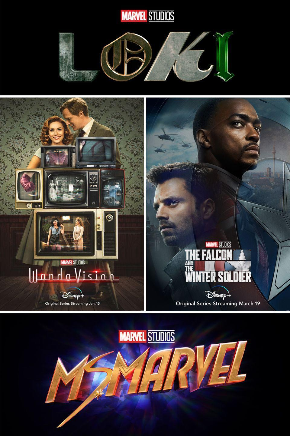 """<p>After so many years of relentless Marvel Cinematic Universe releases, the last eighteen months has brought a real MCU drought—the last movie released in theaters was <em><a href=""""https://www.amazon.com/Spider-Man-Far-Home-Tom-Holland/dp/B07TKZQFJC/?tag=syn-yahoo-20&ascsubtag=%5Bartid%7C10051.g.35058474%5Bsrc%7Cyahoo-us"""" rel=""""nofollow noopener"""" target=""""_blank"""" data-ylk=""""slk:Spider-Man: Far From Home"""" class=""""link rapid-noclick-resp"""">Spider-Man: Far From Home</a></em> in the summer of 2019, with COVID-19 delaying the planned 2020 release of both <em><a href=""""https://www.elle.com/culture/movies-tv/a29534344/black-widow-movie-spoilers-rumors-news-date-cast/"""" rel=""""nofollow noopener"""" target=""""_blank"""" data-ylk=""""slk:Black Widow"""" class=""""link rapid-noclick-resp"""">Black Widow</a></em> and <em>Eternals</em>. And though it may still be a while before you see your MCU faves on the big screen again, Disney+ is about to revive many of them in the comfort of your own home.</p><p>The first series headed to Disney+ is <em><a href=""""https://www.elle.com/culture/movies-tv/a34100532/wandavision-disney-plus-news-release-date-cast-spoilers-trailer/"""" rel=""""nofollow noopener"""" target=""""_blank"""" data-ylk=""""slk:WandaVision"""" class=""""link rapid-noclick-resp"""">WandaVision</a></em>, a time-travellng romantic comedy centered on Elizabeth Olsen's Scarlet Witch. March will see the arrival of highly anticipated Captain America spinoff series, <em>The Falcon and the Winter Soldier</em>, which brings together Anthony Mackie's Sam Wilson and Sebastian Stan's Bucky Barnes in what's sure to be a homoerotic superhero team-up for the ages. Later in spring, Tom Hiddleston's mischievous Thor villain Loki will premiere in his own series, a crime caper which picks up shortly after the events of <em><a href=""""https://www.amazon.com/Marvel-Studios-Avengers-Robert-Downey/dp/B07R21NC3J/?tag=syn-yahoo-20&ascsubtag=%5Bartid%7C10051.g.35058474%5Bsrc%7Cyahoo-us"""" rel=""""nofollow noopener"""" target=""""_blank"""" data-ylk=""""slk:Avengers: End"""