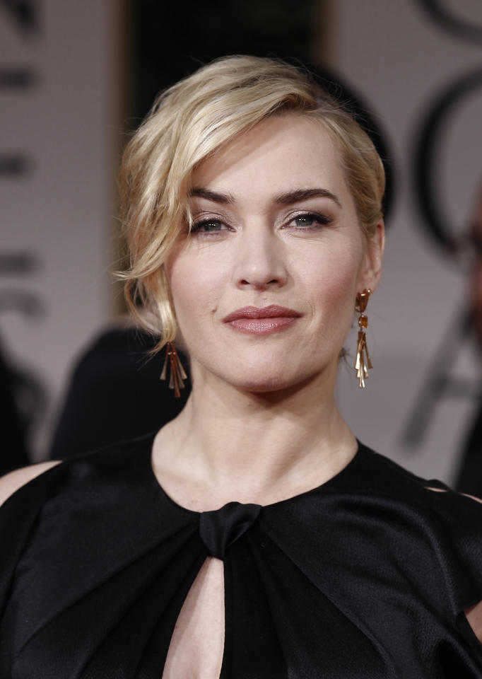 FILE- In this Jan. 15, 2012, File photo showing Kate Winslet arrives on the red carpet before the 69th Annual Golden Globe Awards in Los Angeles, USA. British actress Kate Winslet is to receive an honorary Cesar award next month from organizers of the French equivalent of the Academy Awards, for her body of work.(AP Photo/Matt Sayles, file)