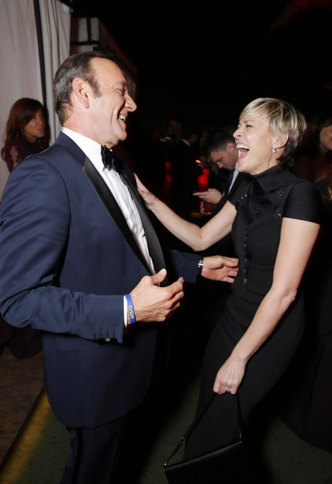 Kevin Spacey and Robin Wright seen at the Netflix Emmy Party, on Sunday, Sep, 22, 2013 in Los Angeles. (Photo by Eric Charbonneau/Invision for Netflix/AP Images)