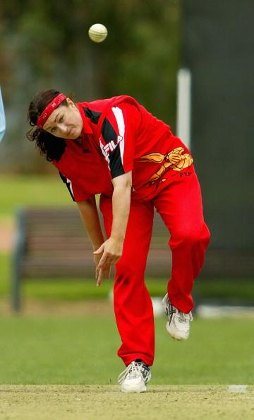 ADELAIDE, AUSTRALIA - JANUARY 17:  Karen Rolton of the Scorpions bowls in the match between the South Australian Scorpions and the Victorian Spirit at Pembroke Oval January 17, 2004 in Adelaide, Australia.  (Photo by Tony Lewis/Getty Images)