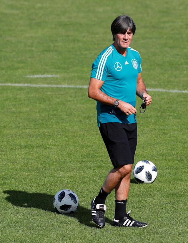 Soccer Football - FIFA World Cup - Germany Training - Eppan, Italy - May 26, 2018 Germany coach Joachim Loew during training REUTERS/Leonhard Foeger