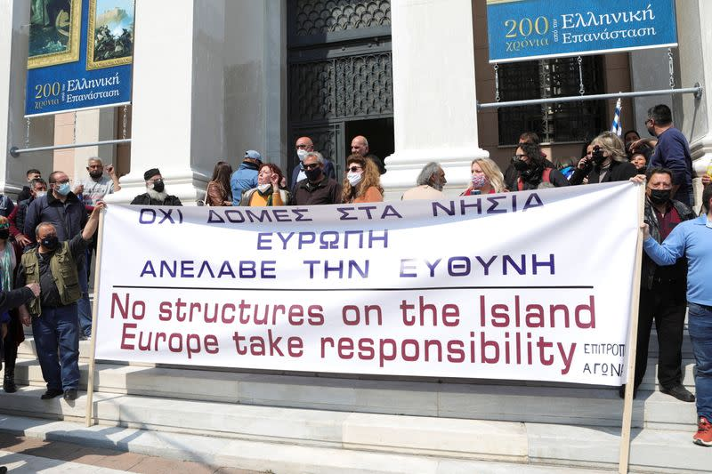 Protest during the visit of European Commissioner for Home Affairs Johansson on the island of Lesbos