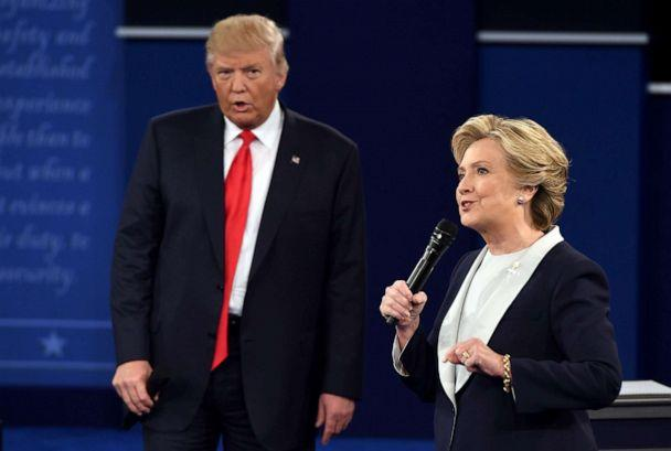 PHOTO: Democratic presidential candidate Hillary Clinton and Republican presidential candidate Donald Trump debate during the second presidential debate at Washington University in St. Louis, Missouri, Oct. 9, 2016. (Robyn Beck/AFP/Getty Images, FILE)