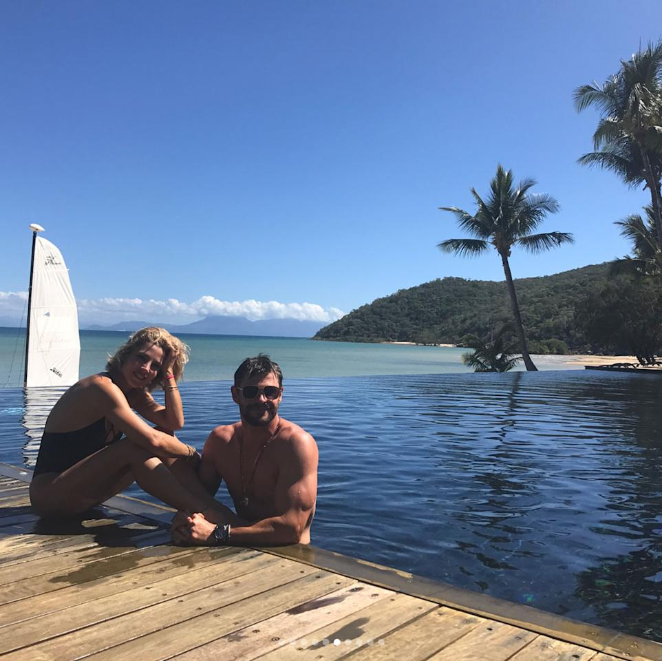 <p>Chris Hemsworth and his wife, Elsa Pataky, celebrated his 34th birthday with a trip to Australia's Great Barrier Reef. The couple and friends stayed at the private island resort, Orpheus Island Lodge. </p>