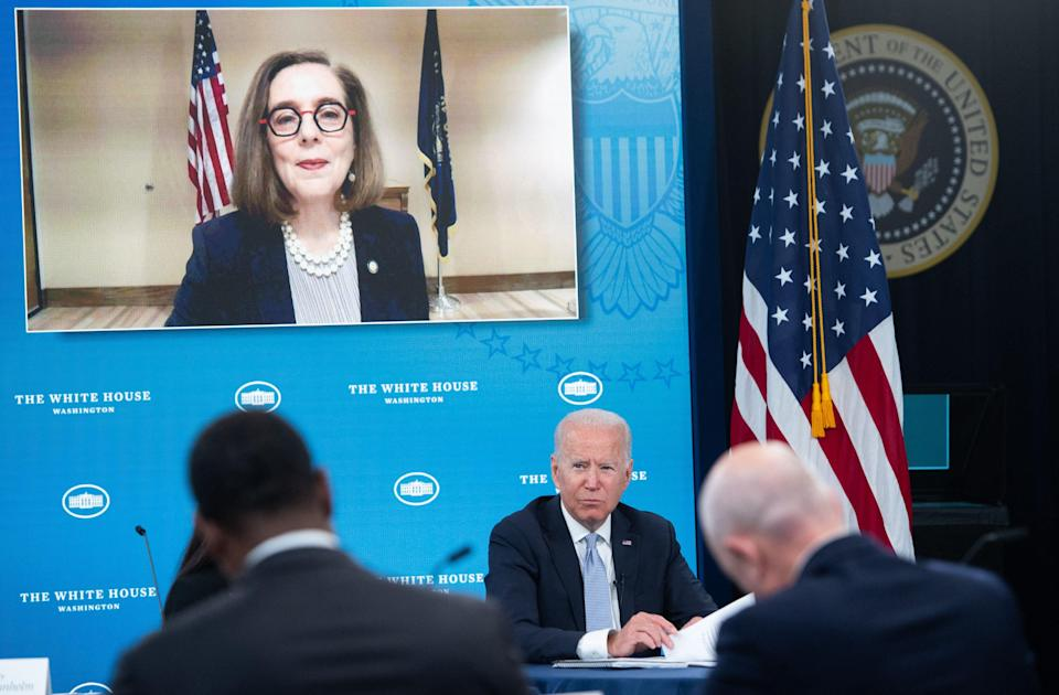 Kate Brown says Joe Biden asked what more government could do to help western states (AFP via Getty Images)