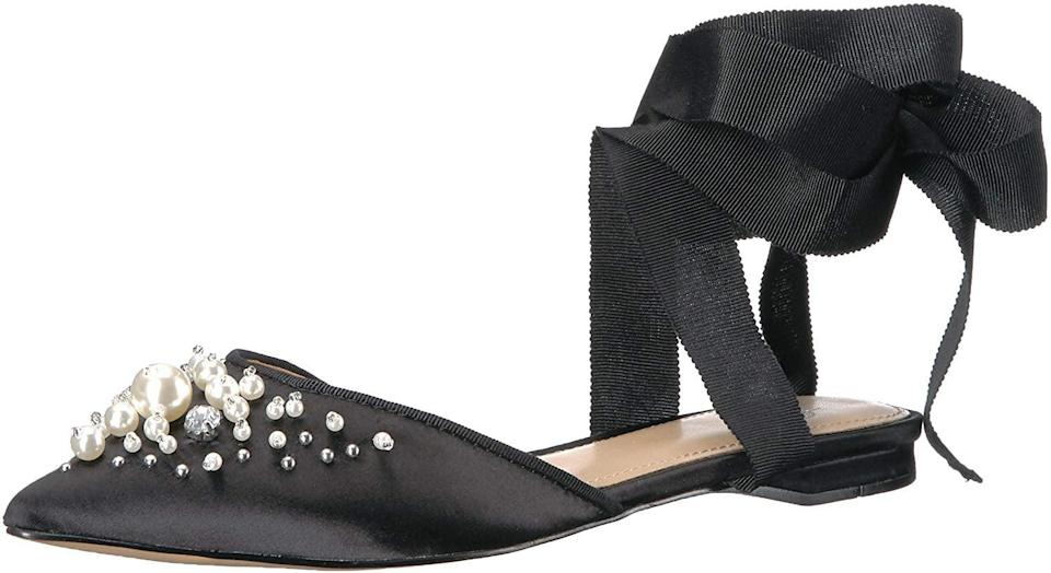 """<p>These <a href=""""https://www.popsugar.com/buy/Fix-Porter-Ankle-Wrap-Flats-Pearls-523529?p_name=The%20Fix%20Porter%20Ankle%20Wrap%20Flats%20With%20Pearls&retailer=amazon.com&pid=523529&price=65&evar1=fab%3Auk&evar9=46947746&evar98=https%3A%2F%2Fwww.popsugar.com%2Ffashion%2Fphoto-gallery%2F46947746%2Fimage%2F46949332%2FFix-Porter-Ankle-Wrap-Flats-With-Pearls&list1=shopping%2Camazon%2Choliday%2Choliday%20fashion%2Cfashion%20shopping&prop13=api&pdata=1"""" rel=""""nofollow noopener"""" class=""""link rapid-noclick-resp"""" target=""""_blank"""" data-ylk=""""slk:The Fix Porter Ankle Wrap Flats With Pearls"""">The Fix Porter Ankle Wrap Flats With Pearls</a> ($65) will get you lots of compliments.</p>"""