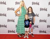 <p>Tori Spelling brings two of her kids, Beau and Finn, to enjoy <em>Space Jam: A New Legacy</em> at the IPIC theater in Pasadena.</p>