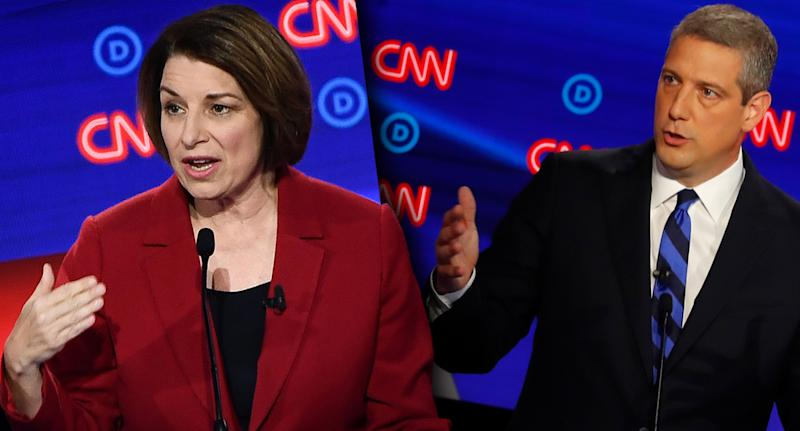 Sen. Amy Klobuchar and Rep. Tim Ryan. (Photo illustration: Yahoo News; photos: Brendan Smialowski/AFP/Getty Images, Paul Sancya/AP)