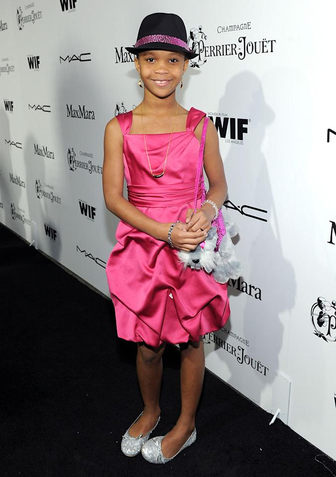 Quvenzhane Wallis attends the 6th Annual Women In Film Pre-Oscar Party hosted by Perrier Jouet, MAC Cosmetics and MaxMara at Fig & Olive on February 22, 2013 in Los Angeles, California.