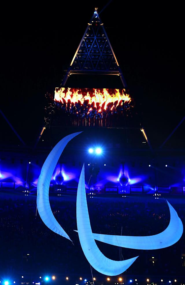 LONDON, ENGLAND - SEPTEMBER 09: The Agitos symbol is displayed during the closing ceremony on day 11 of the London 2012 Paralympic Games at Olympic Stadium on September 9, 2012 in London, England. (Photo by Peter Macdiarmid/Getty Images)