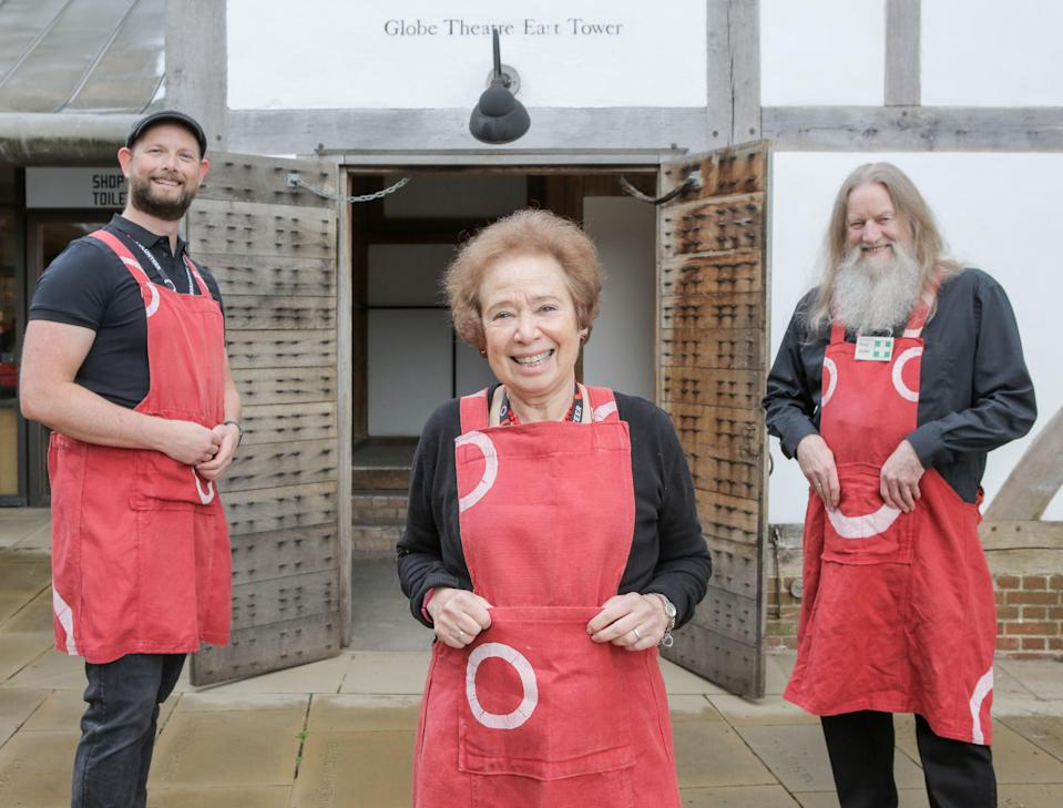 <p>L-R: Brian Allen, Cathie Delaney and Terry Pope prepare to welcome audiences back to Shakespeare's Globe</p> (Matt Writtle)